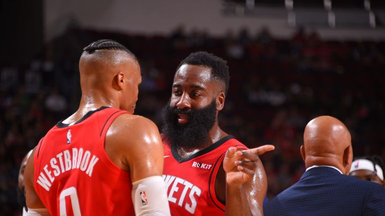 James Harden shares instructions with Russell Westbrook