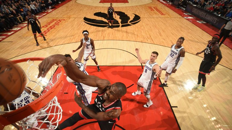 Serge Ibaka throws down an emphatic dunk against the Kings