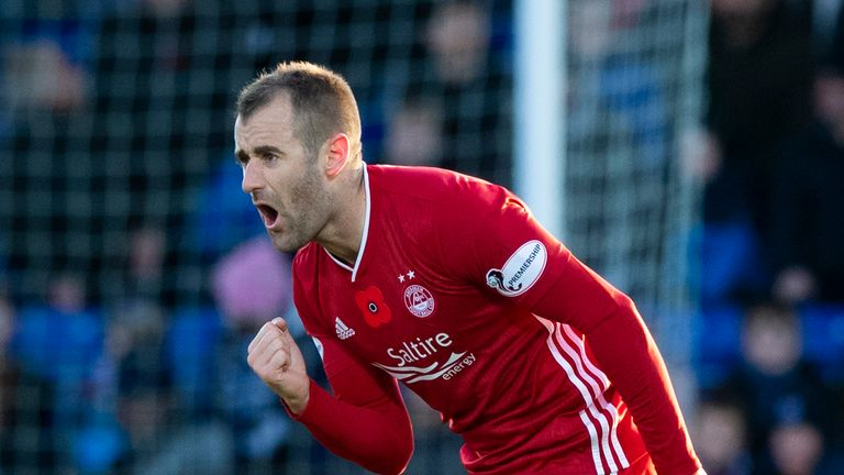 Aberdeen's Niall McGinn could miss out on facing Rangers at Pittodrie