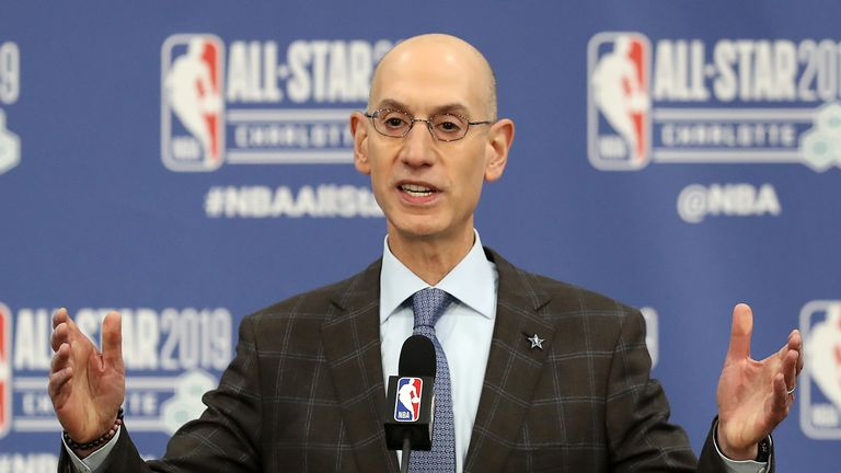 Adam Silver, NBA Commissioner, talks to the media during the NBA All Star Commissioner's Media Availability as part of the 2019 NBA All-Star Weekend at Spectrum Center on February 16, 2019 in Charlotte, North Carolina.