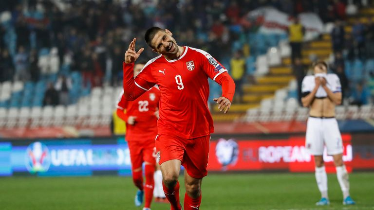 Aleksandar Mitrovic celebrates his strike as Serbia beat Luxembourg on Thursday