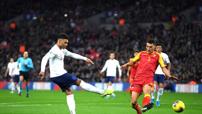 Alex Oxlade-Chamberlain scores England's opening goal
