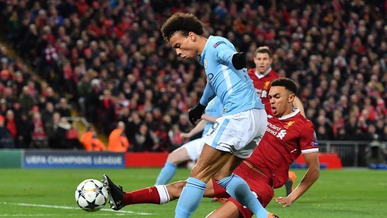 Alexander-Arnold kept Leroy Sane at bay during Liverpool's Champions League quarter-final first leg with Manchester City in April 2018