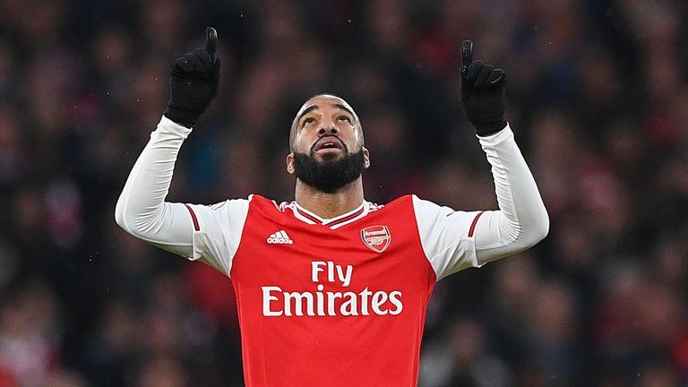 Alexandre Lacazette celebrates after scoring Arsenal's equaliser