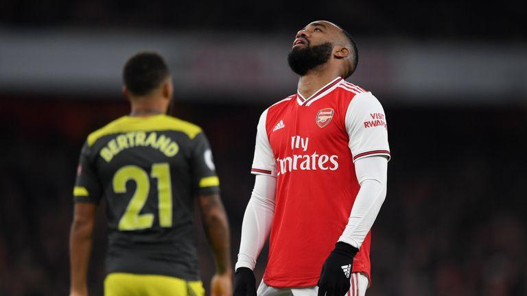Alexandre Lacazette reacts during the Premier League match between against Southampton