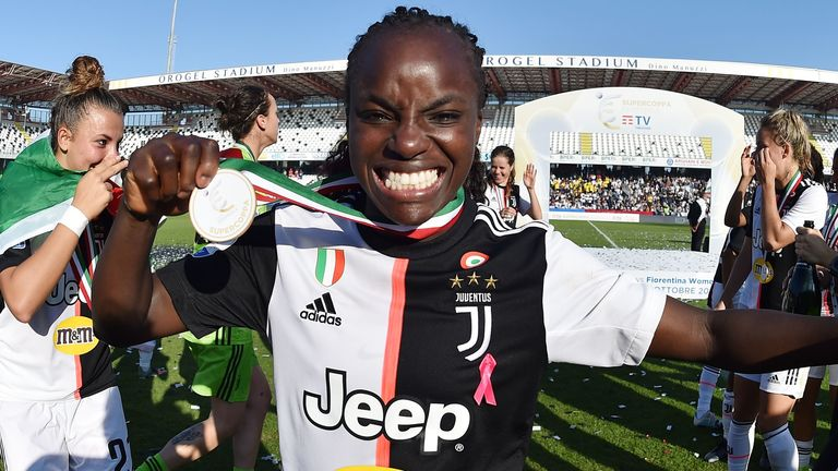 Aluko celebrates winning the Italian Supercup with Juventus