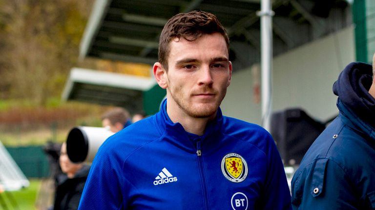 Andrew Robertson during a training session at The Oriam on November 12, 2019