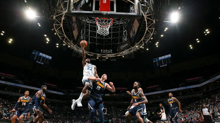 Andrew Wiggins of the Minnesota Timberwolves shoots the ball against the Denver Nuggets