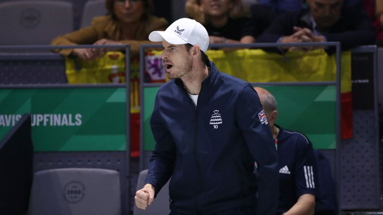 Andy Murray sat out the semi-final and supported his team-mates from the sidelines