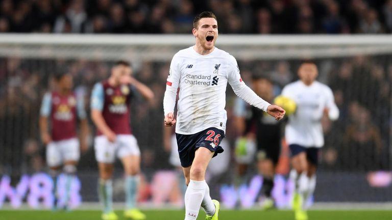 Andy Robertson celebrates his second-half equaliser