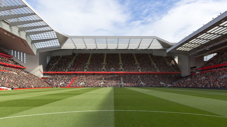 Computer generated images showing proposed Anfield Road Stand expansion