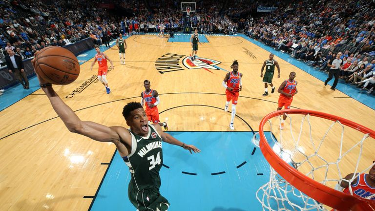 Giannis Antetokounmpo of the Milwaukee Bucks drives to the basket against the Oklahoma City Thunder