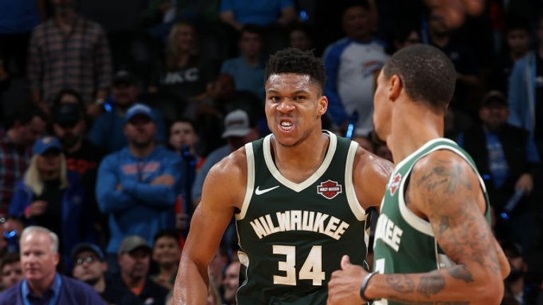 Giannis Antetokounmpo of the Milwaukee Bucks reacts to a play during the game against the Oklahoma City Thunder