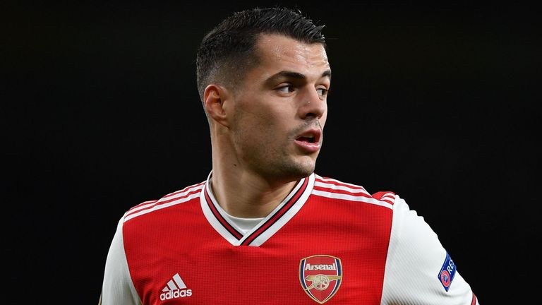 Arsenal's Swiss midfielder Granit Xhaka runs during their UEFA Europa league Group F football match between Arsenal and Eintracht Frankfurt at the Emirates Stadium