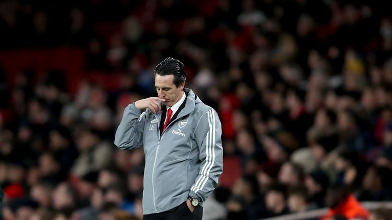 Arsenal manager Unai Emery during the Europa League defeat to Eintracht Frankfurt
