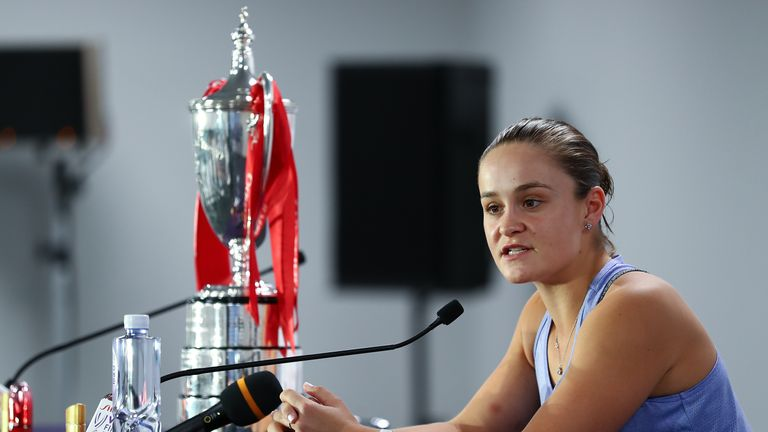 Barty spoke to the media after her 'very, very special night' in Shenzhen