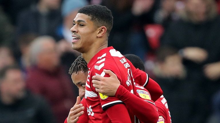 Middlesbrough's Ashley Fletcher celebrates scoring his side's second goal of the game during the Sky Bet Championship match at Riverside Stadium, Middlesbrough.