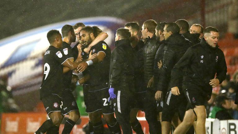 Ashley Williams celebrates scoring for Bristol City against Barnsley