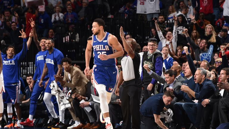 The crowd reacts after Ben Simmons of the Philadelphia 76ers hits his first career three-pointer against the New York Knicks