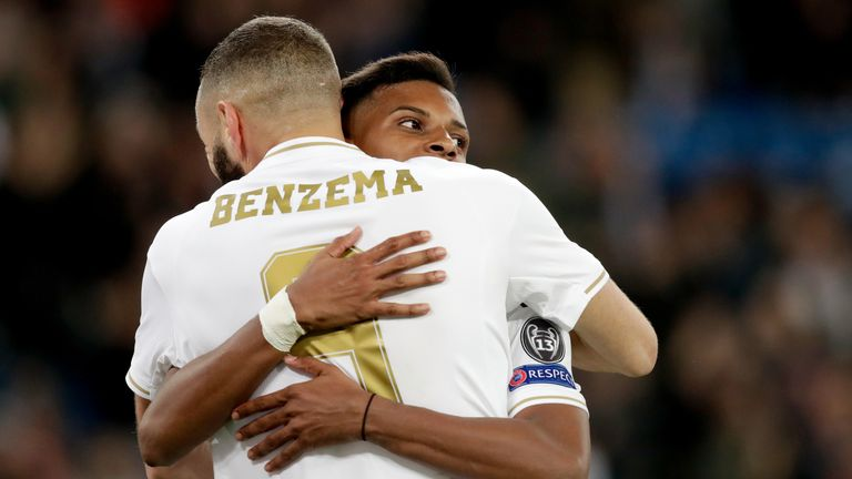 Karim Benzema and Rodrygo celebrate during Real Madrid's victory