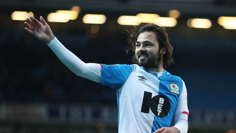 BLACKBURN, ENGLAND - NOVEMBER 23: Bradley Dack of Blackburn Rovers celebrates scoreing his side's first goal  the Sky Bet Championship match between Blackburn Rovers and Barnsley at Ewood Park on November 23, 2019 in Blackburn, England. (Photo by Rachel Holborn - BRFC/Getty Images)