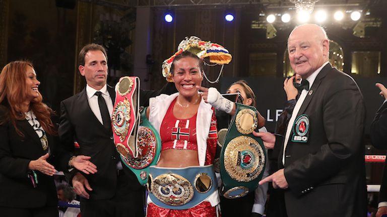 Cecilia Braekhus v Victoria Noelia Bustos, Welterweight  IBF, WBA, WBO, WBC and IBO title fight, Casino de Monte Carlo, Monaco on tomorrow night..30th November 2019.Picture By Mark Robinson..