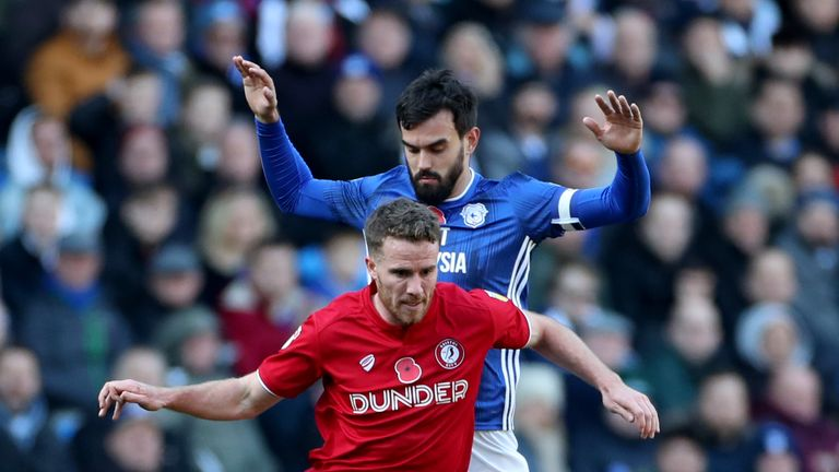 Marley Watkins of Bristol City (left) in action with Marlon Pack of Cardiff