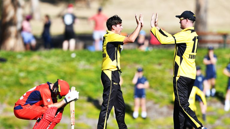 Callum Ferguson sinks to his haunches after narrowly failing to earn South Australia a remarkable win