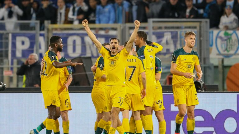 Celtic celebrate a goal in the Europa League