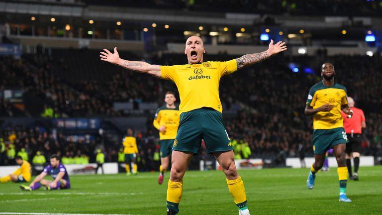 Celtic's Scott Brown celebrates after scoring to make it 5-2