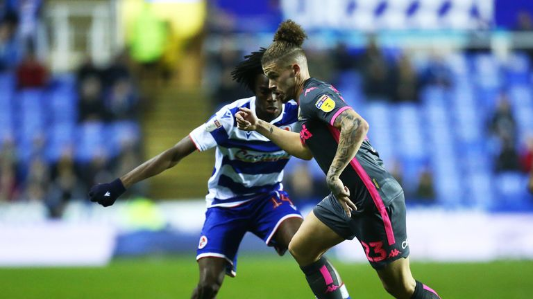 Kalvin Phillips of Leeds tangles with Ovie Ejaria of Reading