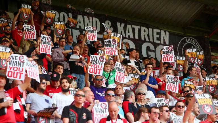 Charlton Athletic supporters protested against owner Roland Duchatelet throughout his ownership