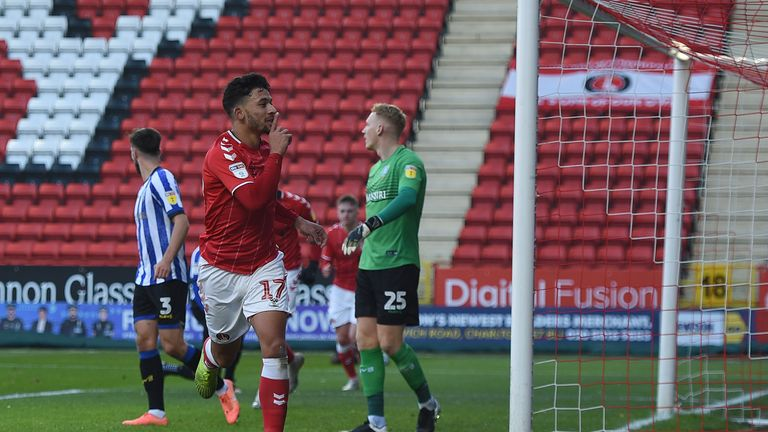 Charlton Athletic v Sheffield Wednesday - Sky Bet Championship - The Valley | Charlton Athletic's Macauley Bonne celebrates scoring his side's first goal of the game