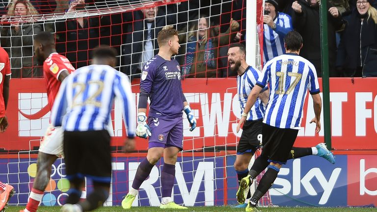 Charlton Athletic v Sheffield Wednesday - Sky Bet Championship - The Valley | Sheffield Wednesday's Steven Fletcher celebrates scoring their second goal from the penalty spot by screaming in the face of Charlton Athletic goalkeeper Dillon Phillips | 30 November 2019