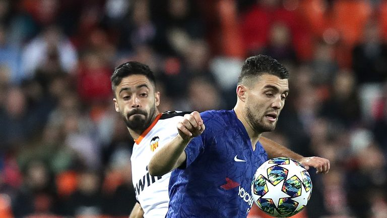 Valencia's Jaume battles for possession with Chelsea's Mateo Kovacic