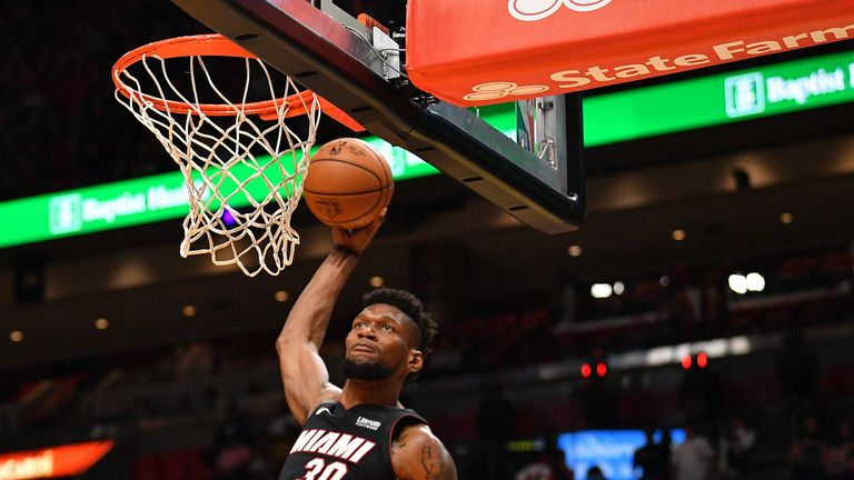Chris Silva of the Miami Heat dunks against the Houston Rockets