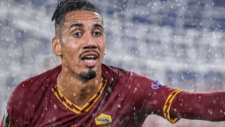Chris Smalling in Champions League action for Roma