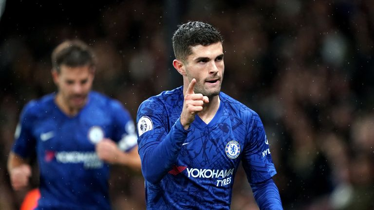 Chelsea's Christian Pulisic celebrates scoring his sides second goal