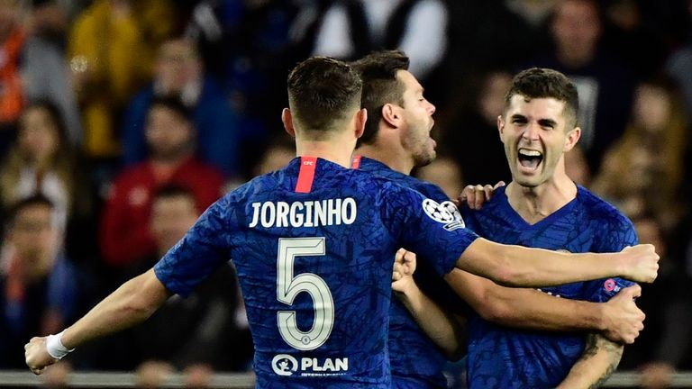 Christian Pulisic celebrates his goal with Chelsea team-mates