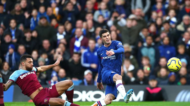 Chelsea's Christian Pulisic goes for goal against West Ham