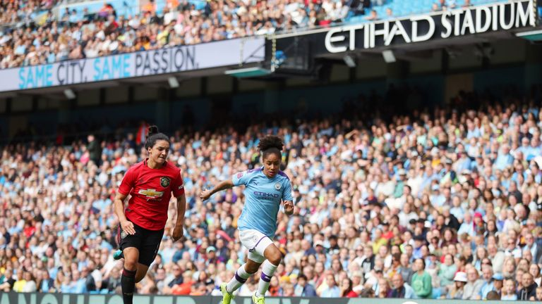 The WSL's first Manchester derby was played at the Etihad Stadium this season