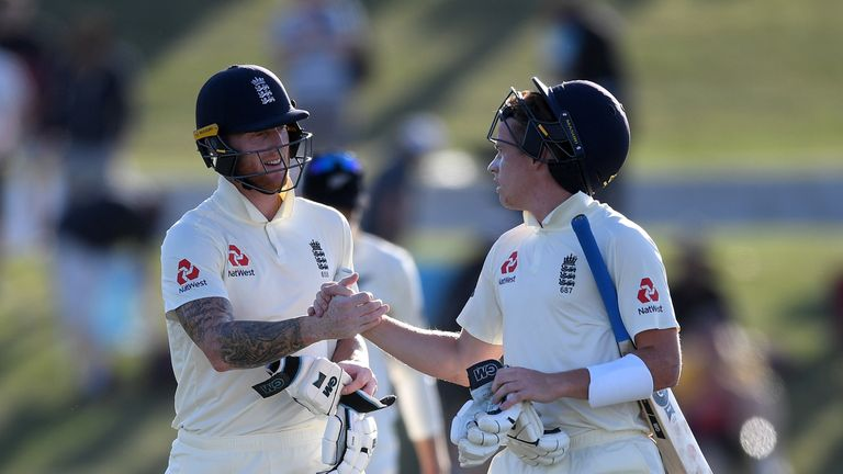 Ben Stokes and Ollie Pope reached stumps with England 241-4 on the first day of the first Test against New Zealand