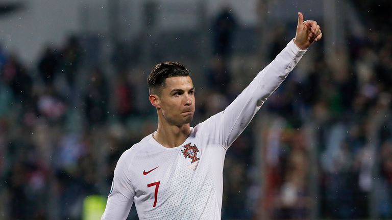 Cristiano Ronaldo #7 of Portugal thanks the fans after the UEFA Euro 2020 Qualifier between Luxembourg and Portugal on November 17, 2019 in Luxembourg, Luxembourg.