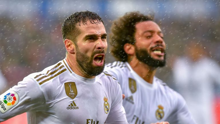 Dani Carvajal celebrates scoring for Real Madrid against Alaves