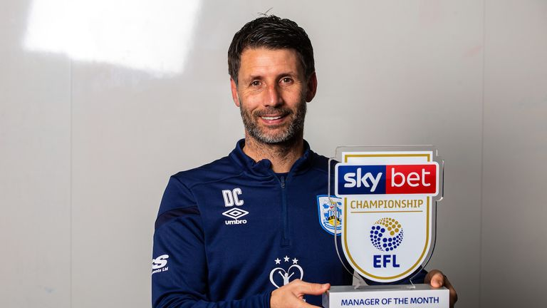 Danny Cowley of Huddersfield Town wins the Sky Bet Championship Manager of the Month award - Mandatory by-line: Robbie Stephenson/JMP - 07/11/2019 - FOOTBALL - Sykes PPG Canalside - Huddersfield, England - Sky Bet Manager of the Month Award