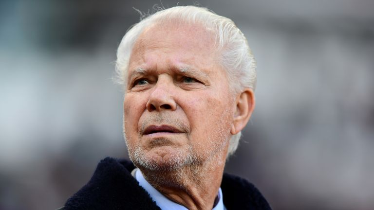 David Gold, Joint Chairman of West Ham United looks on ahead of the Premier League match between West Ham United and Burnley FC at London Stadium on November 3, 2018 in London, United Kingdom.