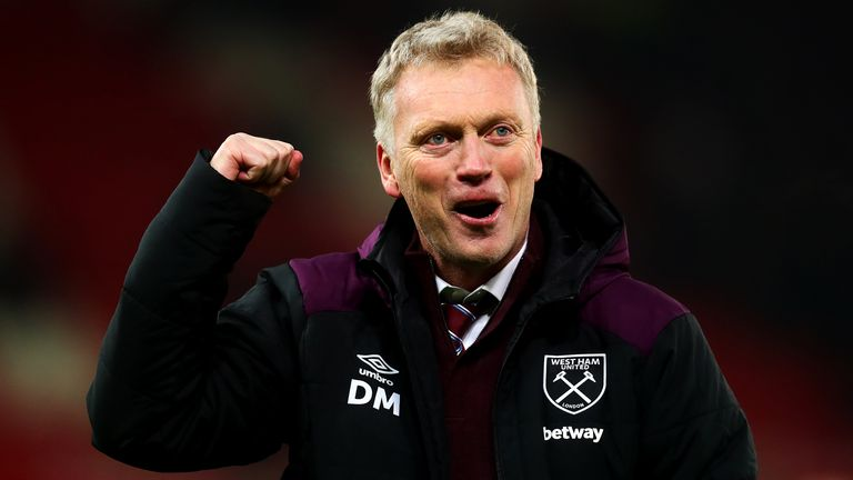 West Ham United manager David Moyes celebrates at full-time following the Premier League match between Stoke City and West Ham United at Bet365 Stadium on December 16, 2017