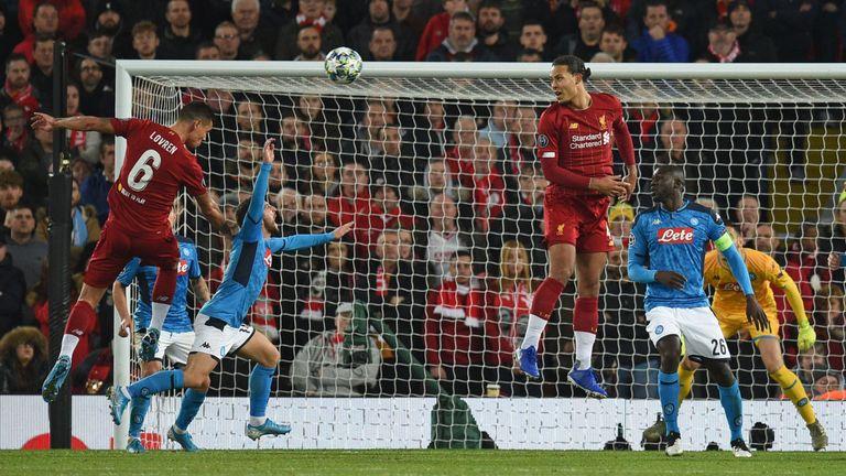 Dejan Lovren equalises for Liverpool against Napoli