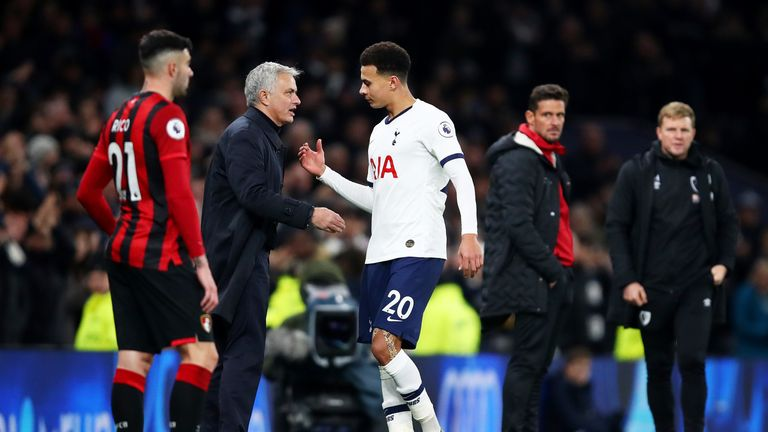 Dele Alli is congratulated by Jose Mourinho after his fine performance on Saturday