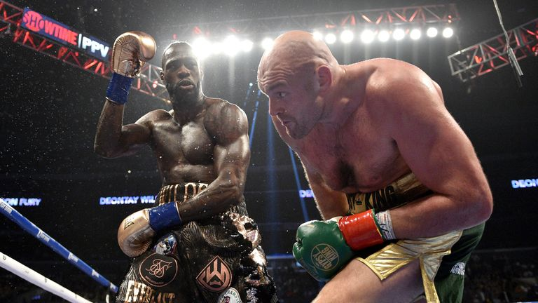 Deontay Wilder and Tyson Fury during the WBC Heavyweight Championship bout at the Staples Center in Los Angeles. PRESS ASSOCIATION Photo. Picture date: Saturday December 1, 2018.